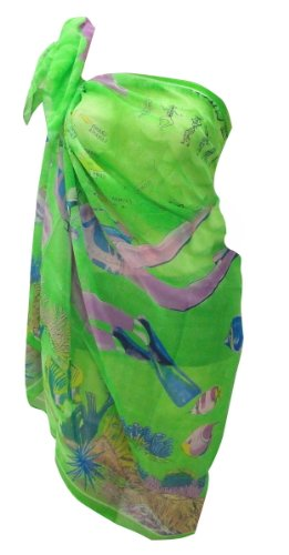 La Leela Map Printed Beach Wear Sarong Wrap Green