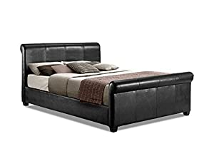 Scroll / Sleigh Double Bed Upholstered in Faux Leather, 4 ft 6, Black