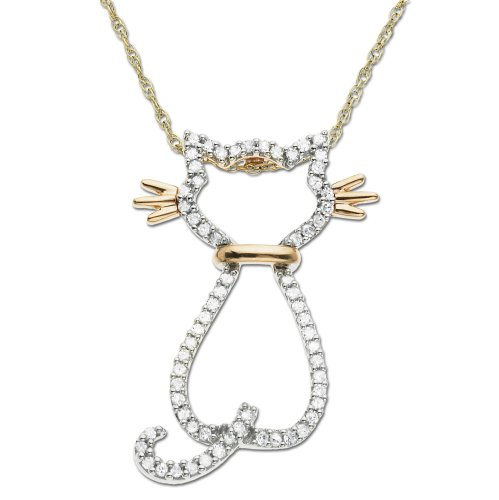 Rose Gold Diamond Cat Pendant