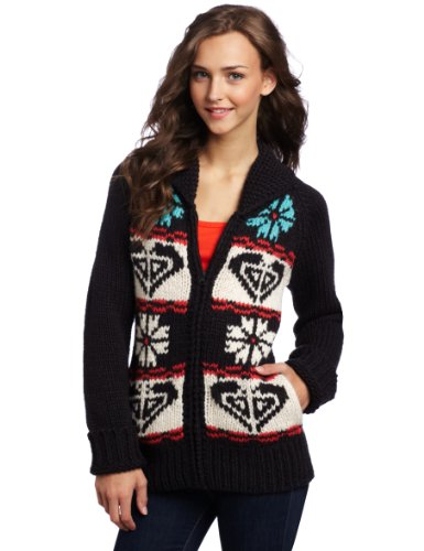 Roxy Juniors Eskimo Kiss Handknit Zip Front Sweater, Black, Large