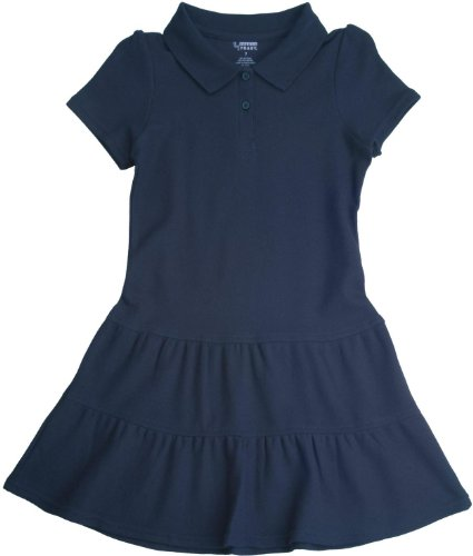 French Toast School Uniforms Ruffled Pique Polo Dress Girls Navy 2T front-950612
