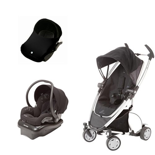 Quinny Travel System: Zapp Xtra & Maxi-Cosi Mico Ap Car Seat, Black, With Imaginebaby Car Seat Canopy The Shade. front-1013566
