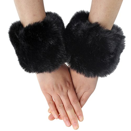 OMO Handgelenkstulpen aus unechtem Kaninchenpelz, weich, warm, für Herbst und Winter, Schwarz, 1 Paar