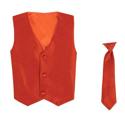 Vest And Clip On Baby Boy Necktie Set - Burnt Orange - 2T/3T front-484744
