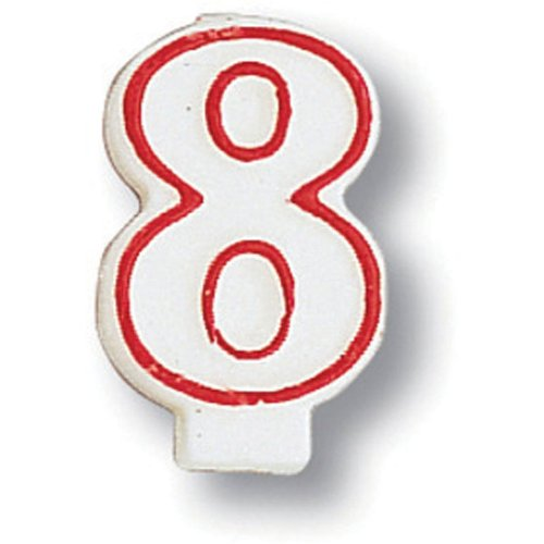 Creative Converting 80159033 #8 Red Outline Numeral Birthday Candle - 1