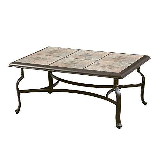 Belleville FTS80721 Ceramic Tile Top Outdoor Patio Rectangular Coffee Table, UV Weather Resistant Durable Steel Construction Frame, Brown Finish