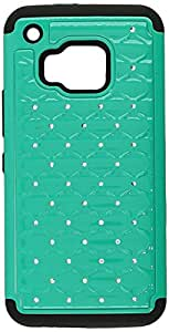 Dream Wireless HTC ONE M9 Hybrid Studded Diamond Case- Retail Packaging - Black/Teal