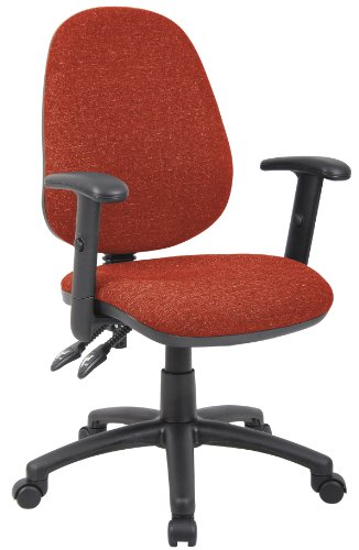 Fabric Operator seating - 2 Lever Operator Chair - Adjustable Arms - Red (V102-00-R) H995xW1125xD590