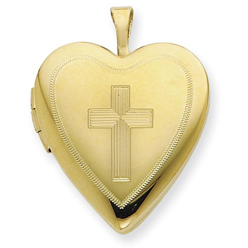 1/20 Gold Filled 20mm Cross Heart Locket