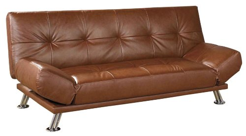 ORE International Leather Futon Sofa Bed, Coffee