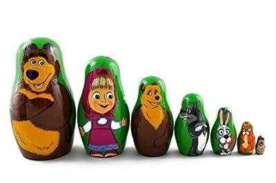 Matryoshka Russian Nesting Wooden Doll Masha And Bear Cartoon 7 Pcs Set Gift Decorative Stacking Hand Painting Beautiful Nested Great Craft