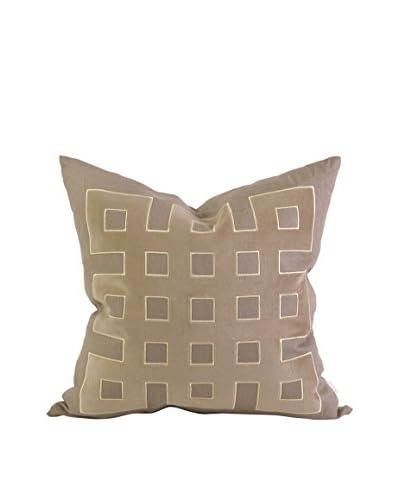 IK Kavita Linen Appliqué Throw Pillow, Taupe