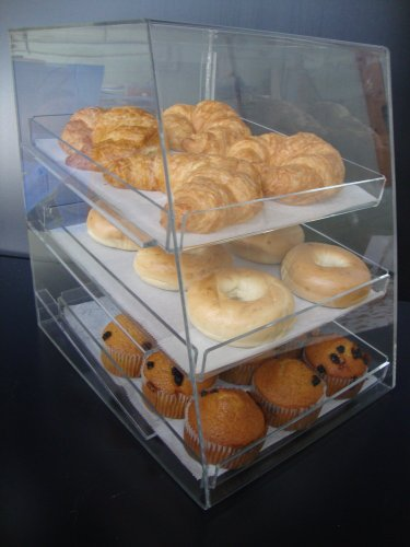 Acrylic Pastry Bakery Donuts Cupcake Display Case With Trays (3 Trays)