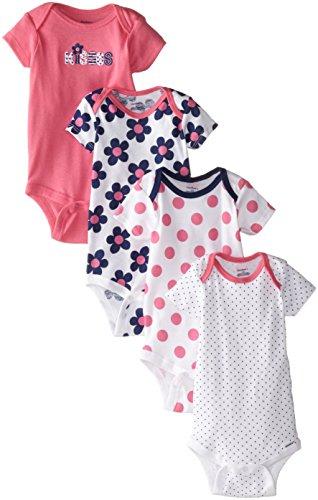Gerber Baby-Girls Variety Onesies Brand Bodysuits, Flowers, 12 Months (Pack of 4)