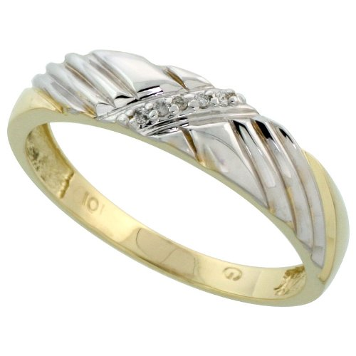 9ct Gold Men's Diamond Band, 5mm Wide