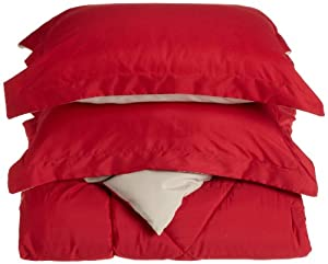 Cathay Home Fashions Silky Soft 3-Piece Microfiber Full/Queen Reversible Comforter Set, Garnet/Stone