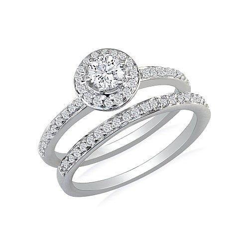 1/2ct Pave Diamond Bridal Engagement Ring Set in 14k White Gold ( GH I1 )