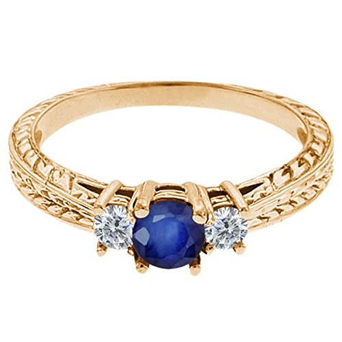 0.60 Ct Round Blue Sapphire G/H Diamond 18K Yellow Gold 3-Stone Ring