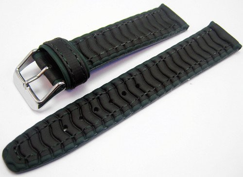 Black & Green Rubber Waterproof Divers Watch Strap Band 20mm