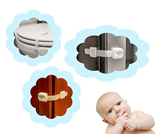 WONDERKID Top Quality Adjustable Child Safety Locks - Latches to Baby Proof Cabinets & Appliances. FREE BONUS, Authentic 3M Adhesive, Eco-Friendly Package, Lifetime Replacement. White-Silver, 6 pack