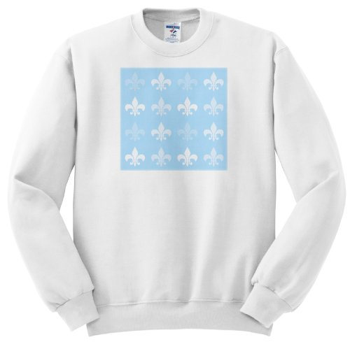 Ss_56317_3 Ps Creations - White And Pale Blue Fleur De Lis - French Art - Sweatshirts - Adult Sweatshirt Large