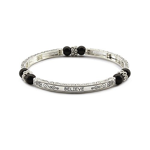 Inspirational Believe Magnetic Hematite Healing Stretch Bracelet