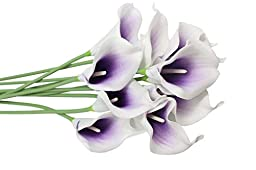 10 Heads Mini Calla Lily Bridal Wedding Bouquet Real Touch Flower Bouquets (purple& white)