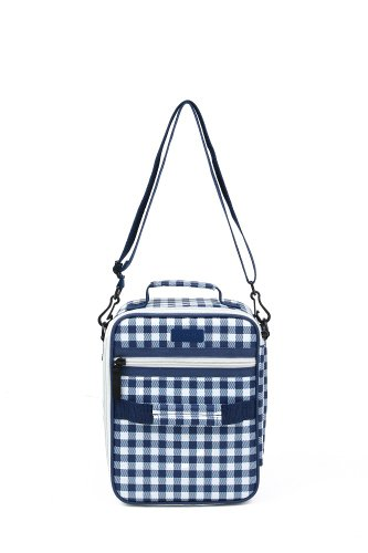 Sachi Cross-Body Insulated Lunch Tote, Style 225-248, Blue Gingham