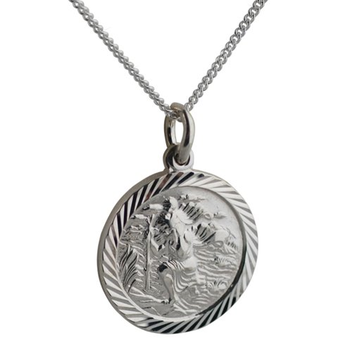 Silver 18mm round diamond cut edge St Christopher with Curb chain
