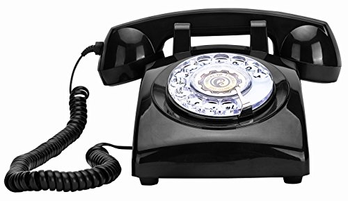 OUYUN DC1960 European Antique Rotary Dial Desk Telephones Bedroom Decoration-Black (1960 Old Rotary Dial Telephones compare prices)