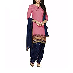 Destiny Enterprise Cotton Unstitched Pink and Navy Blue Color Embroideried Salwar Suit Dress Material for Women