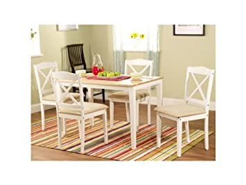 White Solid Wood 5-piece Crossback Dining Set Family, New Free Ship