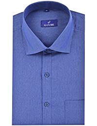 G CUBE Men's Pure Cotton Regular Fit Deep Steel Blue Color Formal Shirt