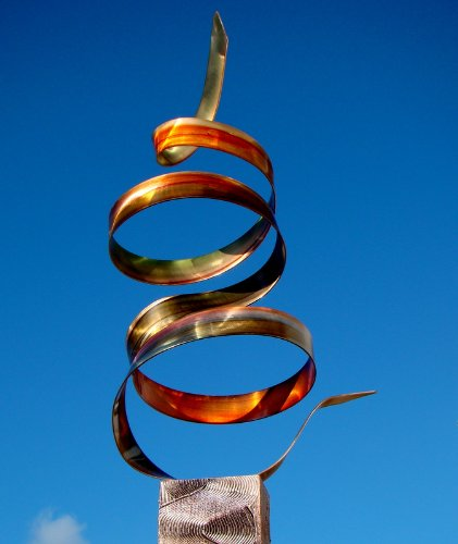 """Amber Twist"" Garden Decor, Modern Metal Garden Sculpture by Jon Allen"