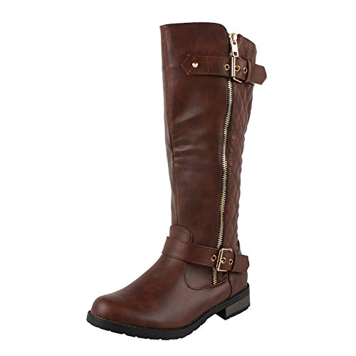 West Blvd Atlanta Quilted Riding Boots,Brown Pu,9