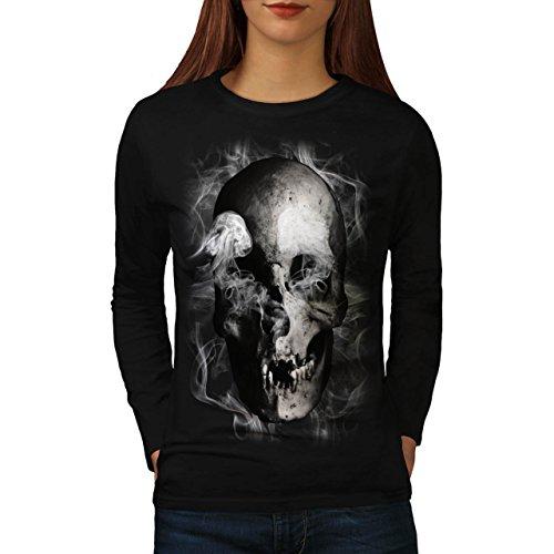 Cranio diavolo Flames Zombie Anima Da donna Nuovo Nero XL T-Shirt Manica Lunga | Wellcoda