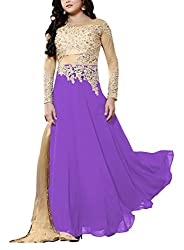 Miss Ethnic Women's Net Unstitched Dress Material (Purple and Gold)