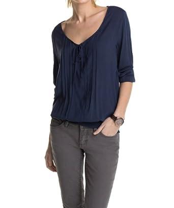 edc by ESPRIT Damen Regular Fit Bluse CARMENsolid, Gr. 44 (Herstellergröße: XXL), Blau (GALLANT NAVY)