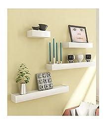 Desi Karigar White Engineered Wood Wall Shelves - Set of 4
