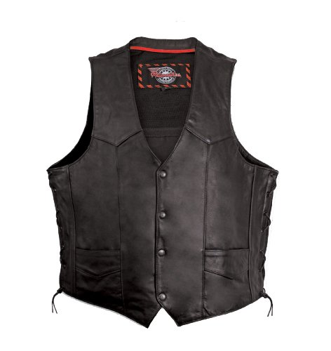 Milwaukee Motorcycle Clothing Company Mens Side Lace Vest with Gun Pocket (Black, Large)