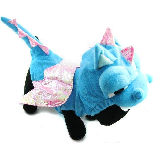 Alfie Couture Designer Pet Apparel - Smokie The Dragon Dinosaur Costume - Color: Blue, Size: S front-922464