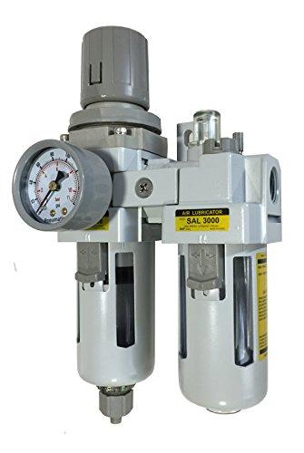 "PneumaticPlus SAU3010M-N03G 2 Piece Compressed Air Filter Regulator Lubricator Combination, 3/8"" Pipe Size, NPT-Manual Drain, Poly Bowl, 10 m with Gauge"