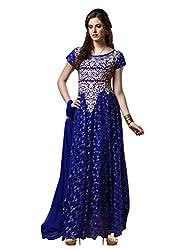 Parinaaz Blue soft net Brasho fabric Unsticht Dressmaterial