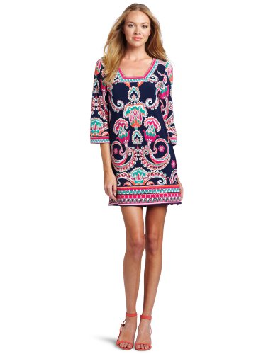 41caSe3m65L Ladies Informal Dresses laundry BY SHELLI SEGAL Womens Border Print Casual Dress, Midnight Multi, 4