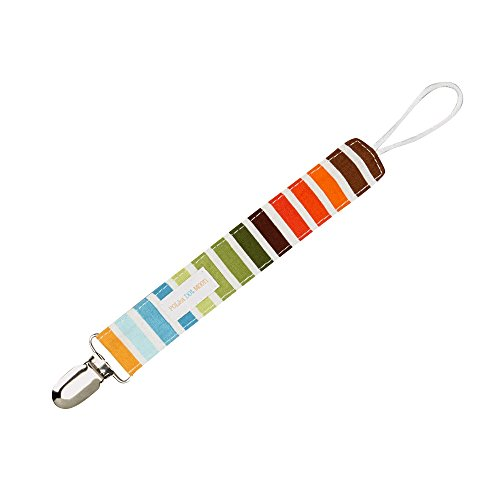 Universal Loop Pacifier Clip - Blue & Orange Bermuda Stripes - 1
