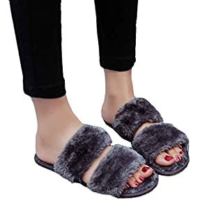 Fheaven Women Comfortable and Home Furnishing Shoes Sandals Slipper Indoor Outdoor Flip-flops Plush Shoes (US:6.5, Gray)