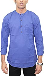 AA' Southbay Men's Ink Blue 100% Cotton Long Sleeve Solid Amsler Casual Short Kurta