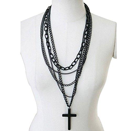 Dansuet 1Pcs retrš° multi-layer moda catene nero collana pendente croce di metallo lunga, collana del pendente Black Cross per le donne