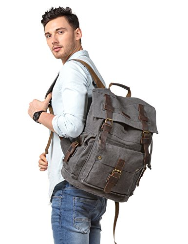 Kattee Men's Canvas Leather Hiking Travel Backpack Rucksack School Bag Grey