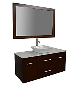 48 inch wall hung bathroom vanity set in cherry includes